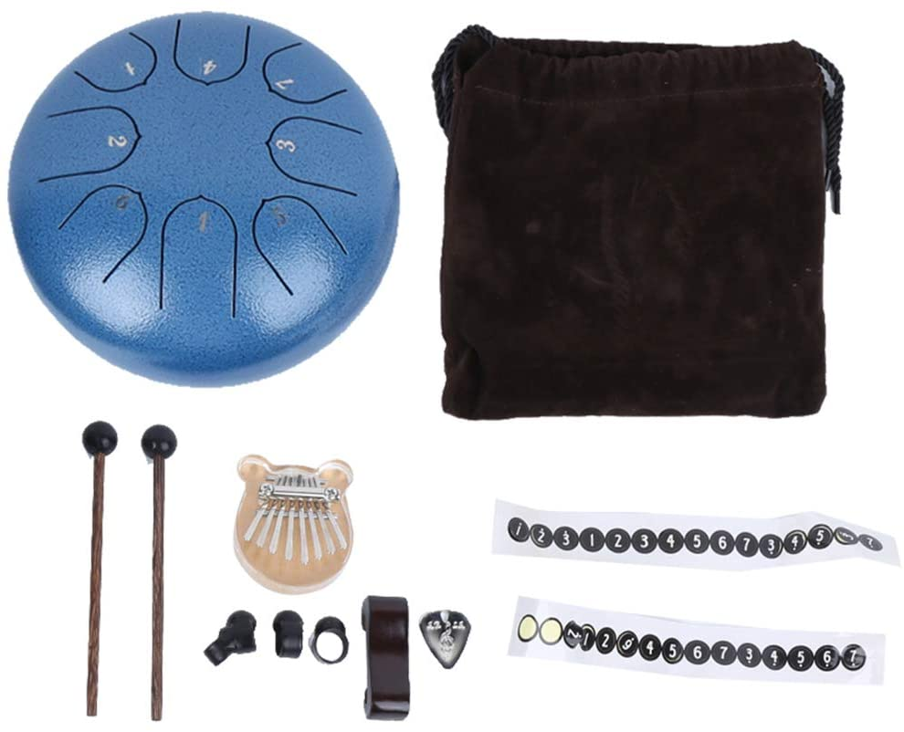 8 Key Acrylic Kalimba Instruments Hand Pan Drum 6 Inch C Major 8 Tone Key Steel Tongue Drum(Blue)