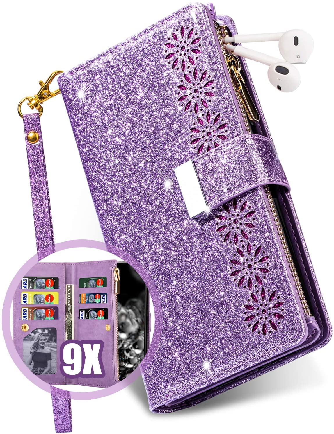Vodico iPhone 11 Case Wallet for Women with Card Holder, Girly Glitter Sparkly Bling Leather Zipper Pocket Full Body Shockproof Magnetic Flip Folio Folding Stand Purse with Strap for Girls (Purple)