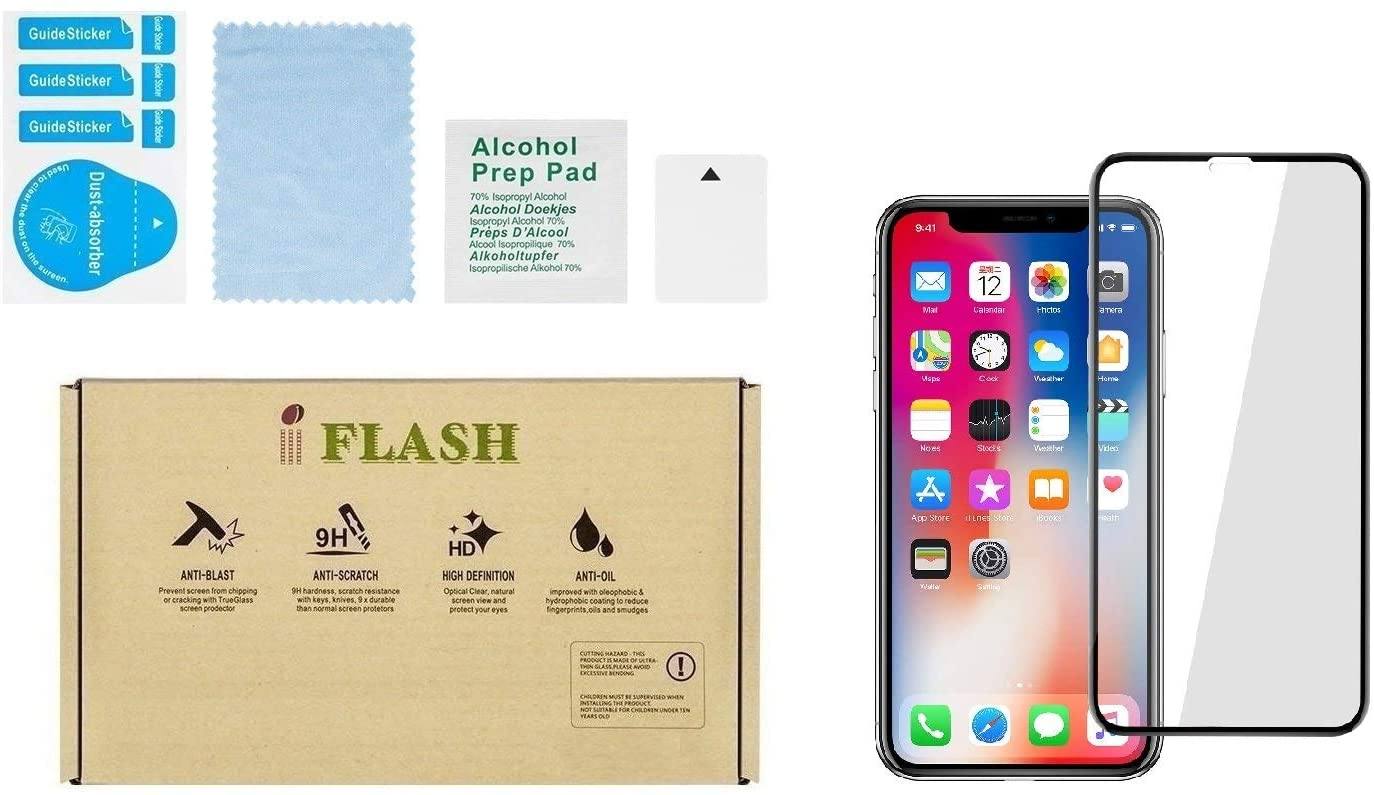 """iPhone Xs Max, iPhone 11 Pro Max Full Coverage Glass Screen Protector, iFlash Full Cover Tempered Glass Screen Protector for Apple iPhone 11 Pro Max/XS Max 6.5"""" – Face ID/Bubble Free –Black"""