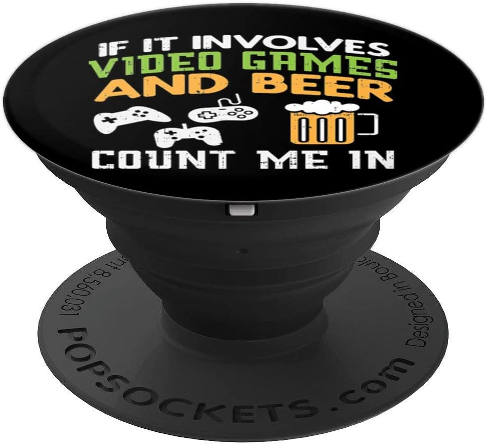 Video Games And Beer Funny Gamer Boyfriend Dad Men Gift PopSockets Grip and Stand for Phones and Tablets