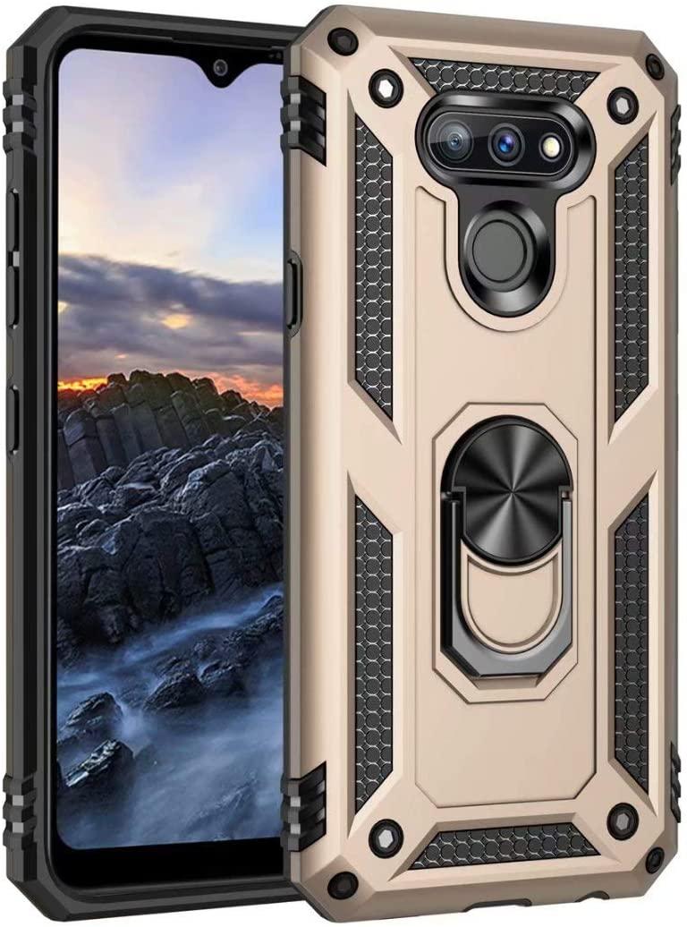 LG Premier Pro Plus Case, Futanwei LG Premier Pro Plus Shock Armor Case with Ring Holder Stand, Military Grade Heavy Duty Protection Phone Case for LG Premier Pro Plus L455DL/LG Harmony 4, Golden