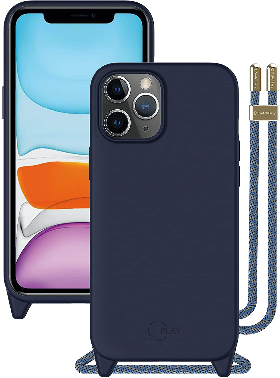SwitchEasy iPhone 12 Pro Max Case - Play, Liquid Silicone Case with Crossbody Lanyard, Adjustable Fashion Neck Strap, Full-Body Shockproof Protection, Screen & Camera Cover - Classic Blue