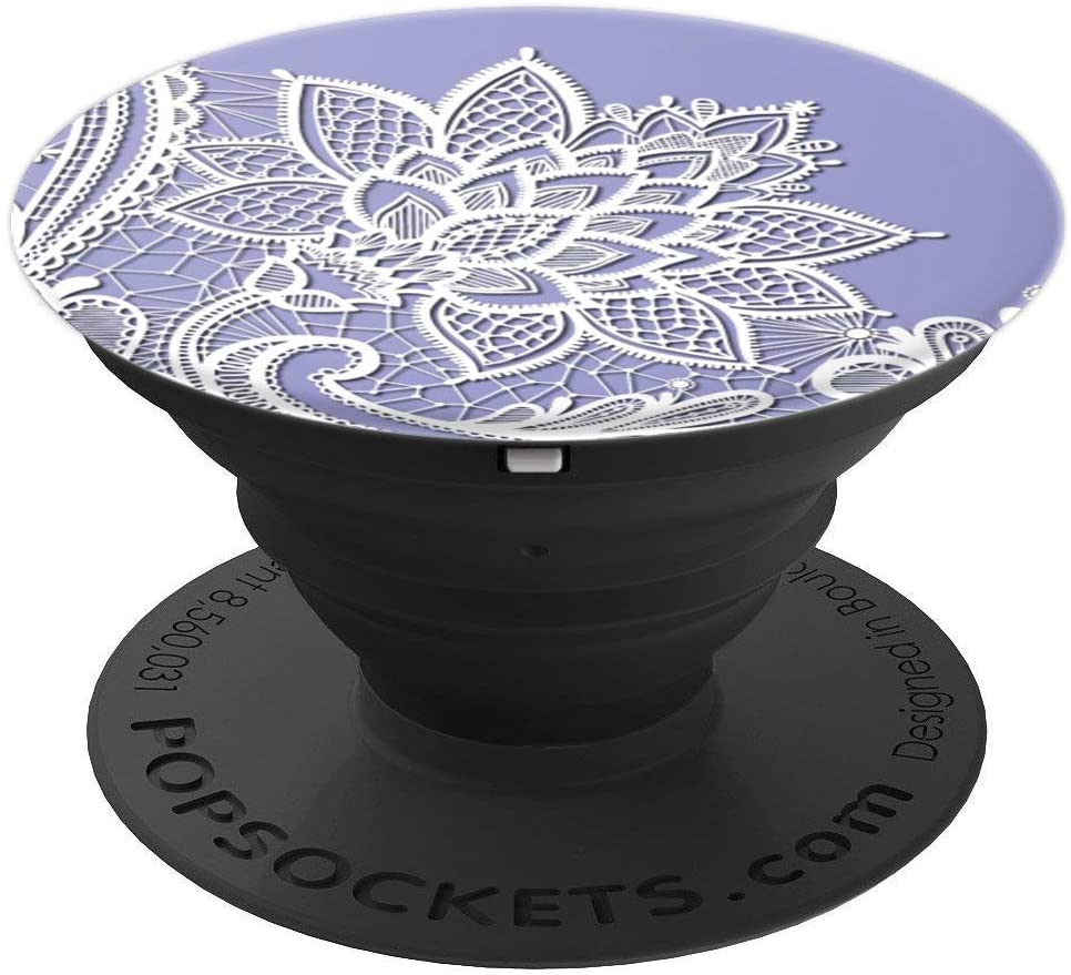 Purple Floral Lace Mandala Phone Popper PopSockets Grip and Stand for Phones and Tablets