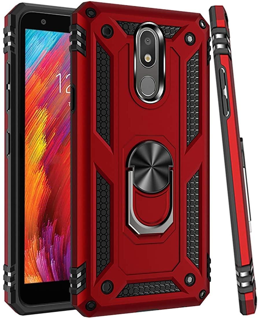 Zoeirc LG Aristo 4 Plus case,LG Neon Plus/Prime 2/Tribute Royal/Escape Plus/Arena 2/Journey LTE Phone Case, Magnetic Car Ring Holder Mount Kickstand Protective Cover Case for LG Aristo 4 Plus (red)