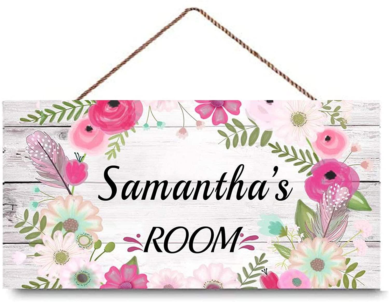 Pink Floral Wreath Sign Personalized Girls Bedroom Baby Nursery Door Wood Sign Wall Art Decor 5
