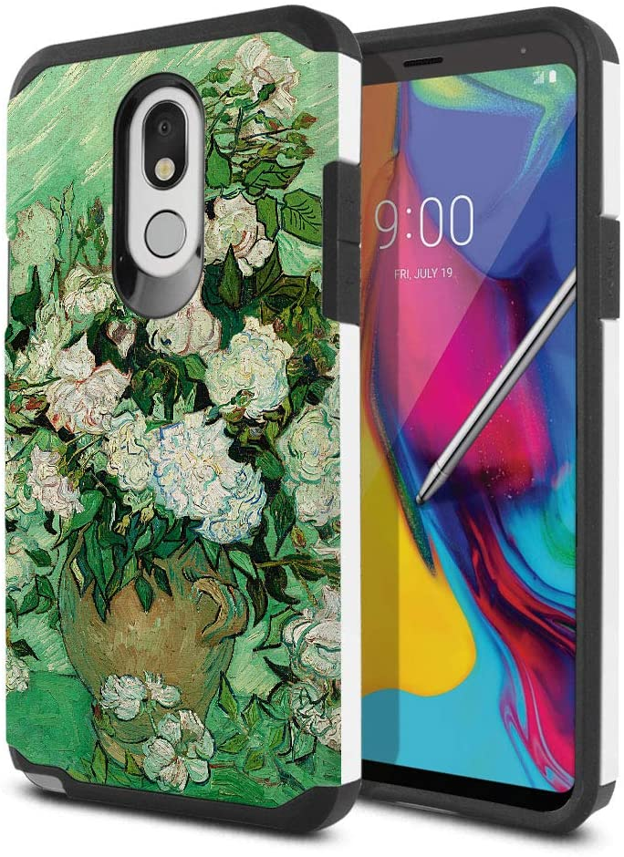 FINCIBO Case Compatible with LG Stylo 5, Dual Layer Hard Back Hybrid Protector Case Cover Anti Shock TPU for LG Stylo 5 - Vase with Pink Roses by Vincent Van Gogh