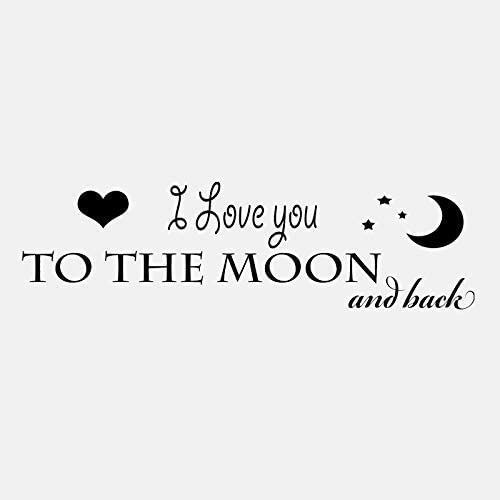 I Love You Moon Vinyl Wall Home Kids Room Decor PVC Stickers 79Cm22.3Cm