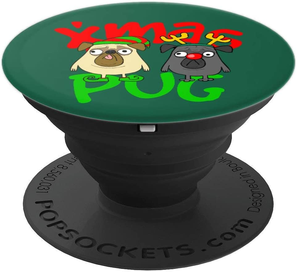 Cute Christmas Pugs Owner Pug Lover Xmas Dog Dad Dog Mom PopSockets Grip and Stand for Phones and Tablets