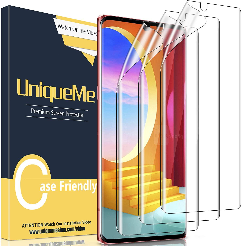 [3 Pack] UniqueMe Screen Protector for LG Velvet 4G / 5G / 5G UW Version [Case Friendly][Flexible TPU Film][Not Glass] Screen Protector for LG Velvet