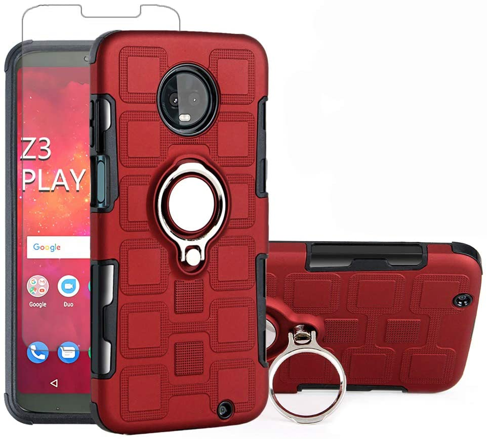 Phone Case for Motorola Moto Z3 / Z3 Play with Tempered Glass Screen Protector Cover and Magnetic Stand Ring Holder Slim Hybrid Hard Cell Accessories MotoZ3 Z 3case 3 3Z Z3play Cases Red