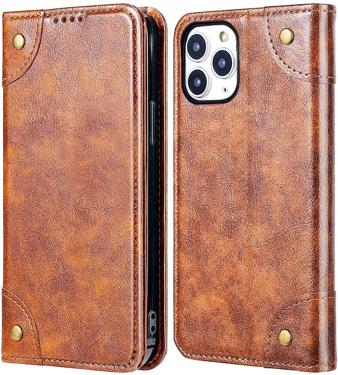 iPhone 12/iPhone 12 Pro Wallet Case, KelaSip Folio Flip Magnetic Leather Cover with Kickstand and Credit Slots for iPhone 12/iPhone 12 Pro 6.1 inch 2020(Khaki)