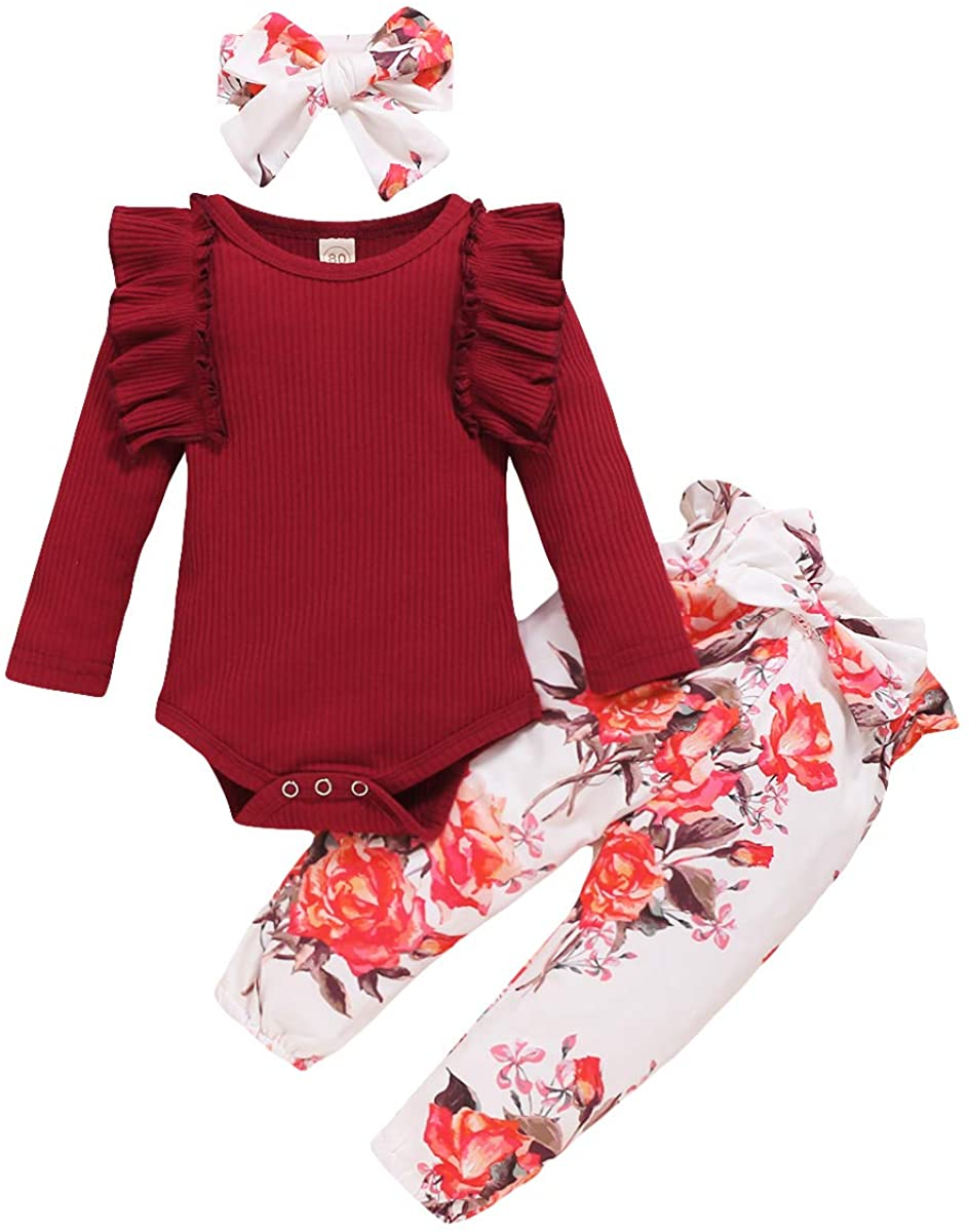 Infant Toddler Baby Girl Clothes Ruffle Romper Bodysuit Floral Long Pants Headband 3PCS Outfits