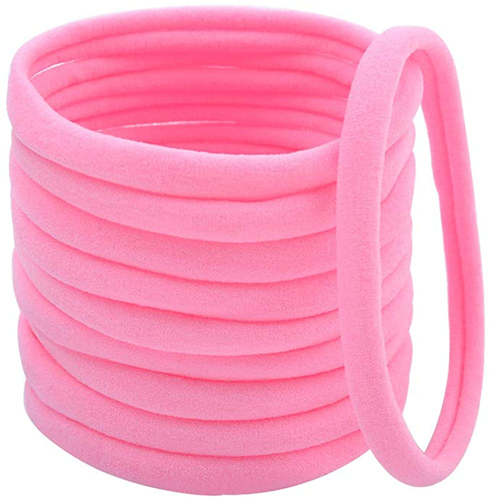 DQCUTE 50Pcs Baby Girls Soft Stretchy DIY Solid Color Nylon Headbands Hair Bands Hair Accessories