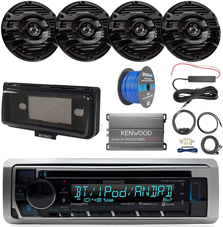 Pontoon Boat Audio Package: Kenwood KMRD375BT Marine CD Bluetooth Receiver, Radio Cover, 4X Kenwood KFC-1653MRB 6.5