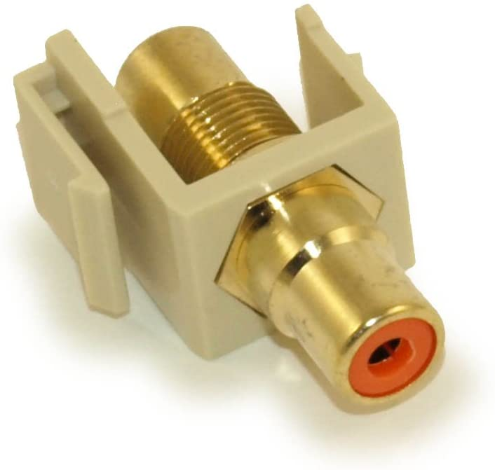 MyCableMart Wall Plate: Keystone Jack - RCA with Orange Center, Gold Plated, Ivory