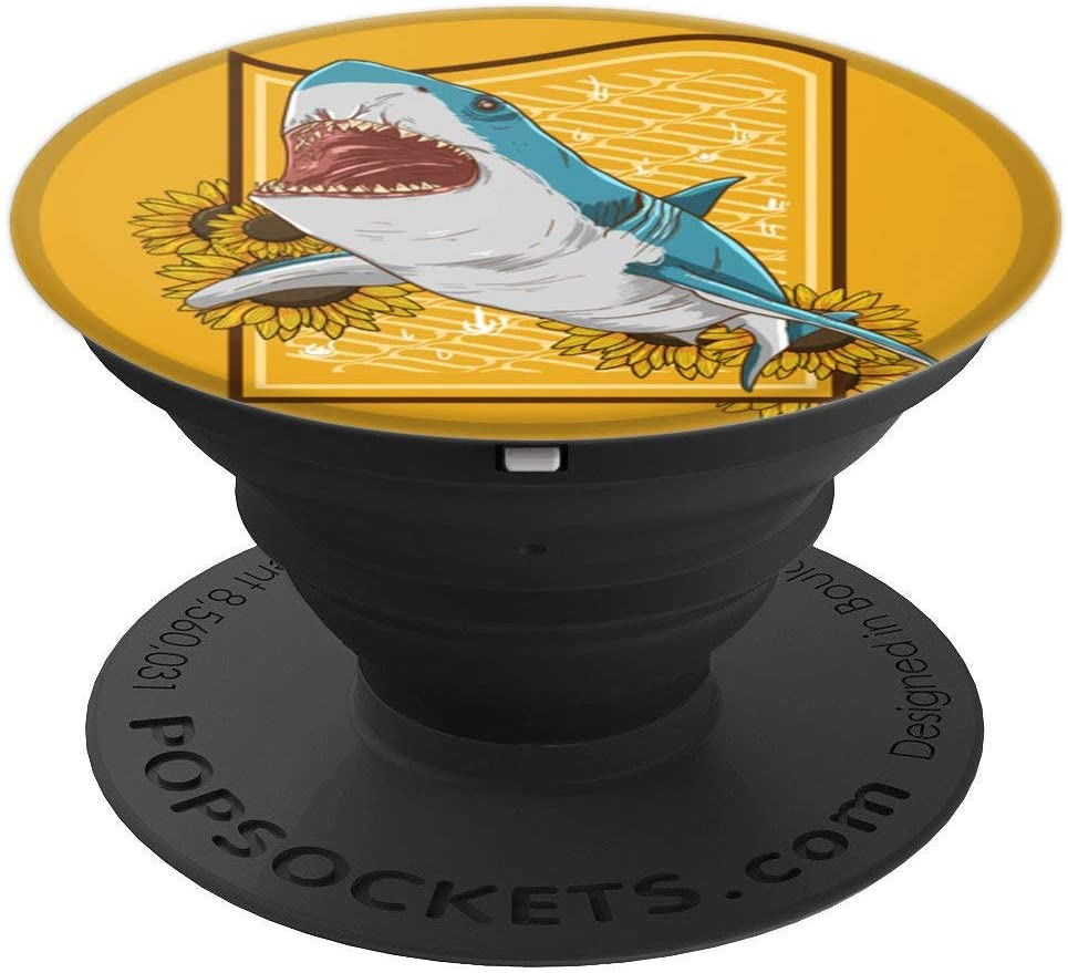 Shark Beer Sunflower Funny Alcoholic Sea Animal Plant Gift PopSockets Grip and Stand for Phones and Tablets