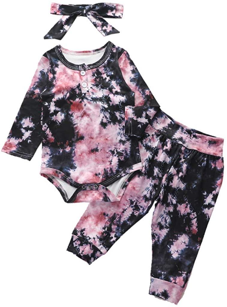 2DXuixsh Baby Girl Clothes Bodysuit Romper Top +Pants Long Sleeve Pajamas Sleepwear Outfit Tie Dye Headband Clothes Set