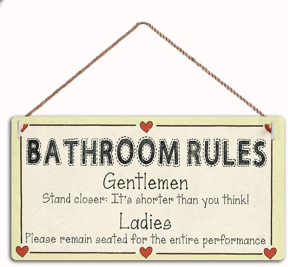 MAIYUAN Wood Signgae -Bathroom Rules - Gentlemen Stand Closer It's Shorter Than You Think!Family Decor Sign,Wall Door Sign 12X6,(AZS-079)