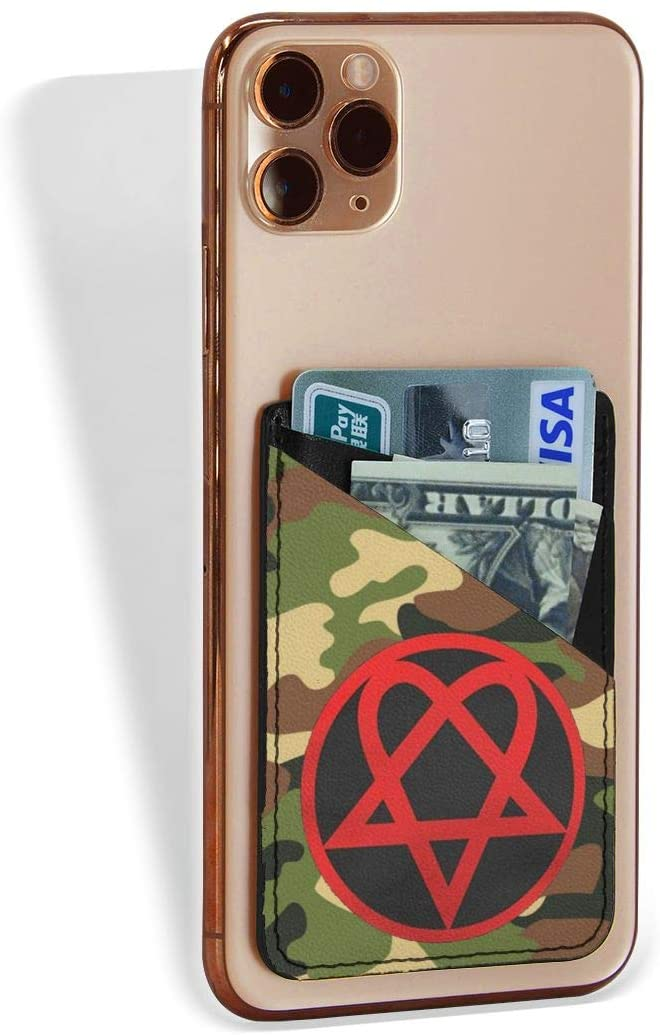 Heartagram Double Slot Credit Card Holder for Back of Phone, Cell Phone Pocket Stick On Wallet Card of Phone-Self Adhesive Sticker On Smartphones
