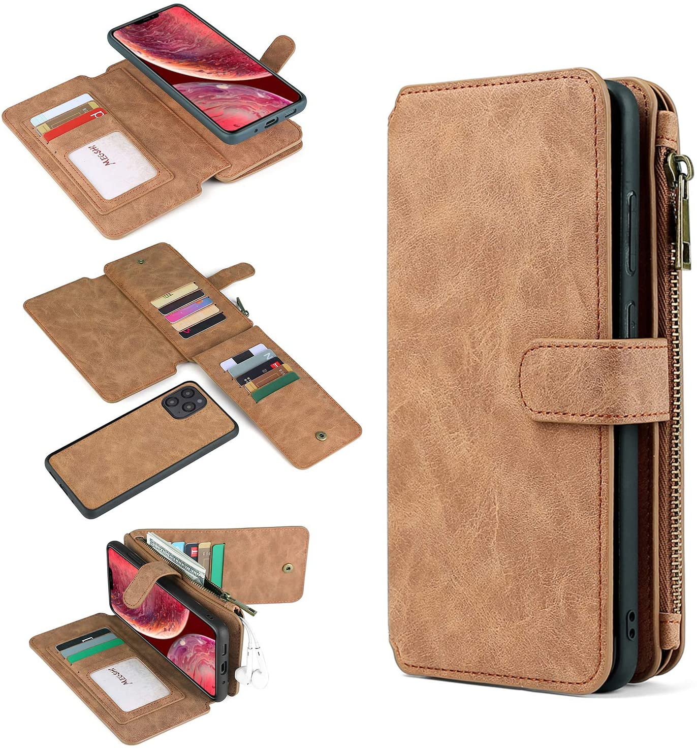 for iPhone 12 Pro/iPhone 12 Wallet Case,with Card Slots & Zipper Retro PU Leather Multi-Function Detachable Magnetic Wallet Case Cover(iPhone 12 Pro/12 6.1