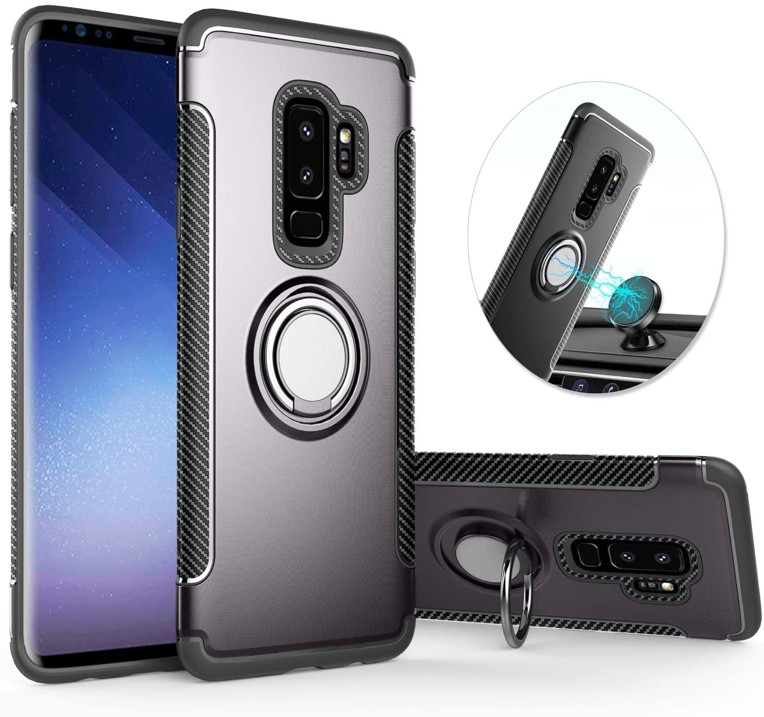 QSEEL for Samsung Galaxy S9 Plus Ring Armor Case, TPU+PC Hybrid Shockproof Back Cover with Built-in Magnetic Suction Holder, Sturdy Bumper Defender (Grey)