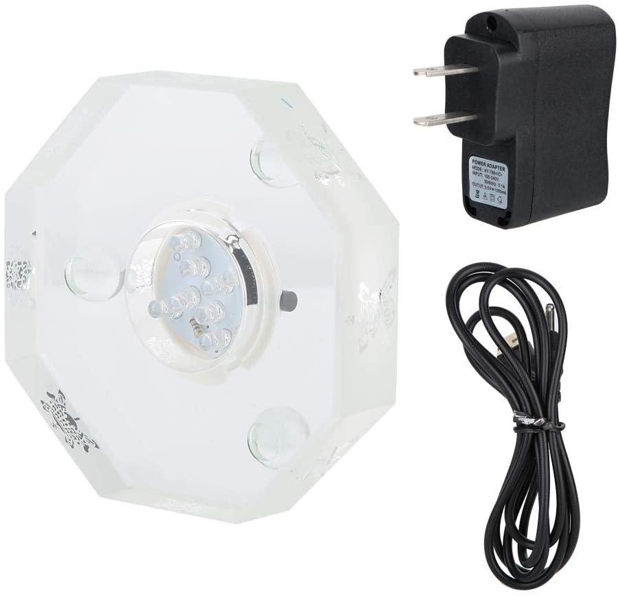 Fdit1 Mini 3D Crystal LED Light Base 7 Colors Circulation Buddha Display Stand Holder Home Decor US Plug 110-240V