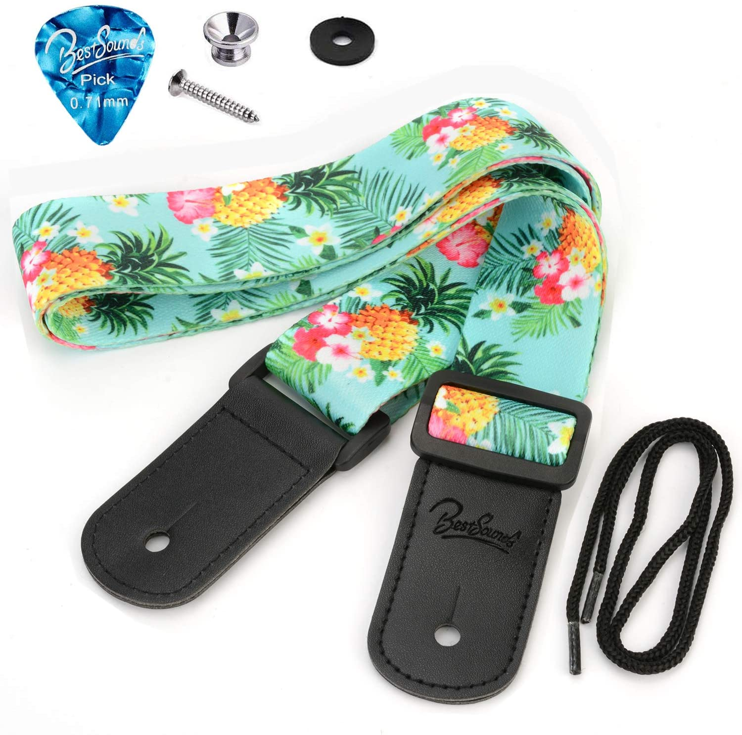 BestSounds Pineapple Ukulele Strap & Hawaiian Style Shoulder Strap Suitable for Soprano Concert Tenor Baritone String Instruments (Pineapple)