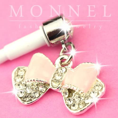 IP111 Crystal Pink Butterfly Bow Anti-dust Earphone Jack Plug For iPhone 4 4s