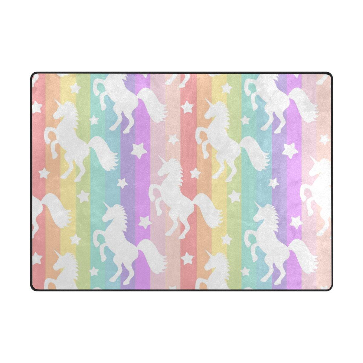 YZGO White Unicorns Stars on Rainbow Colorful Rug, Kids Children Area Rugs Non-Slip Floor Mat Resting Area Doormats