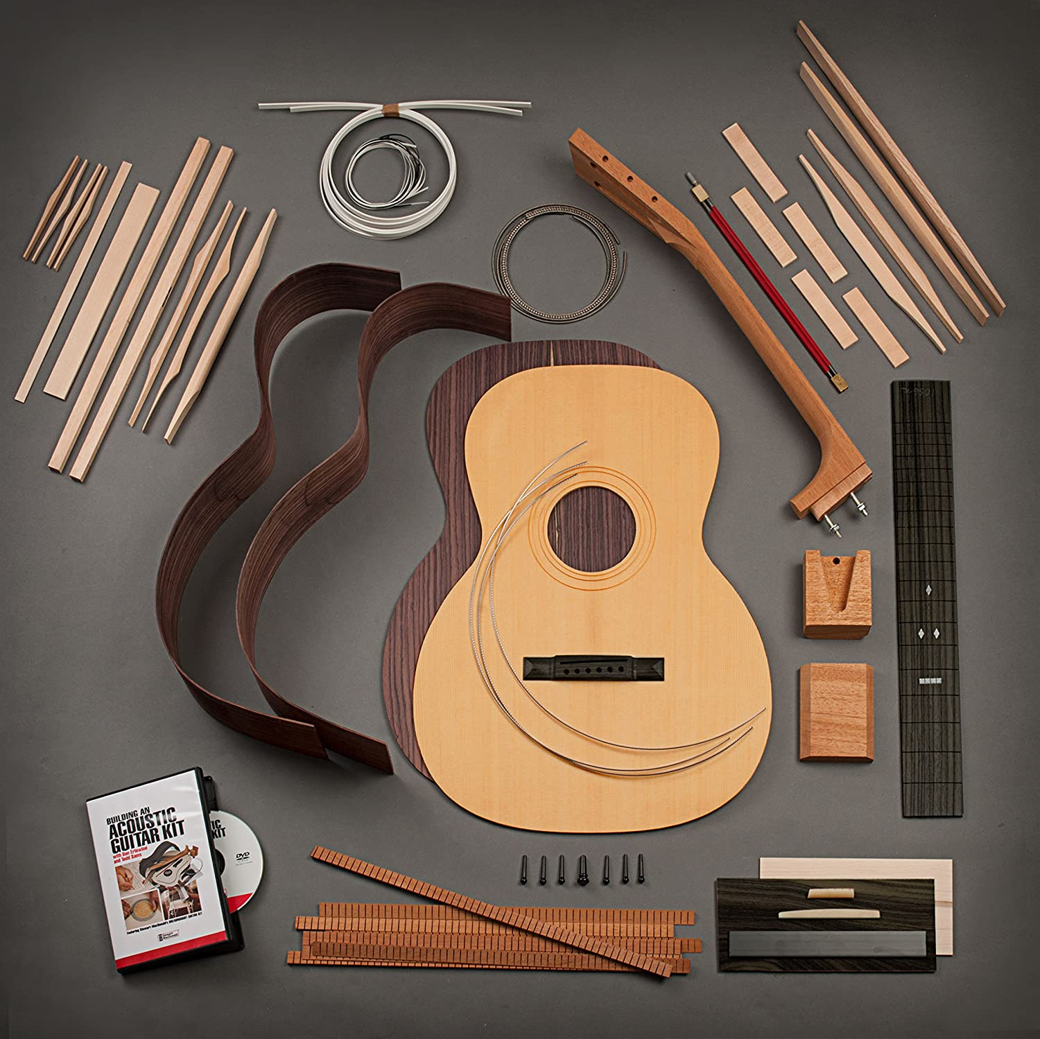 StewMac Build Your Own Triple-O Acoustic Guitar Kit with Indian Rosewood Back & Sides, Torrefied Top, Bolt-on Neck