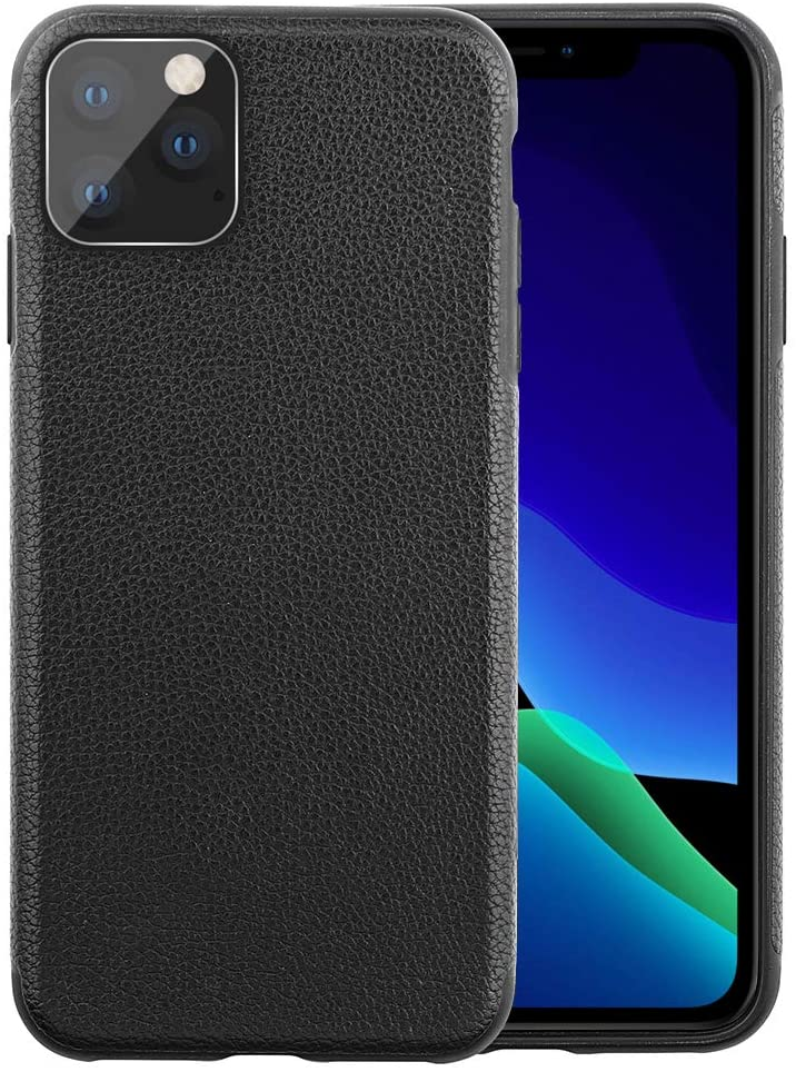 o'star Original Designed Leather Case for Apple iPhone 11 [6.1 inches] Hard Back Slim Cover Protective Phone Case (Black)