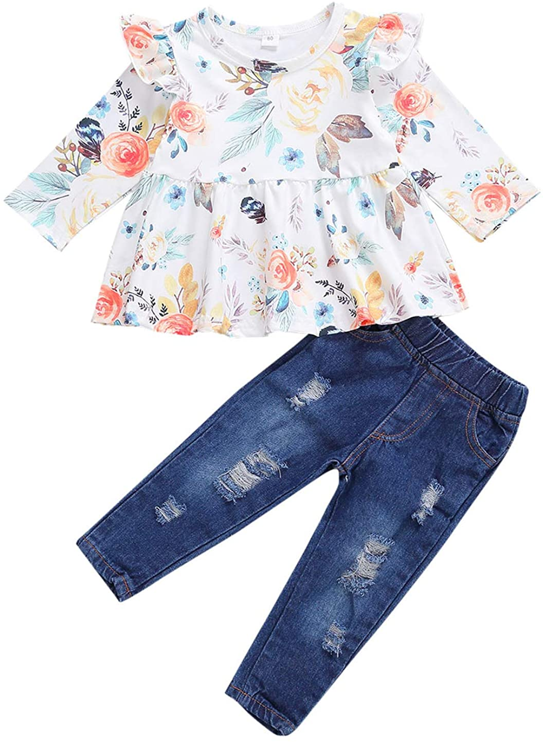 Toddler Girls Sleeveless Lace Ruffle Shirt Pleated Tube Crop Top Blouse Bell Bottom Denim Jeans Flare Legging Pants Outfits