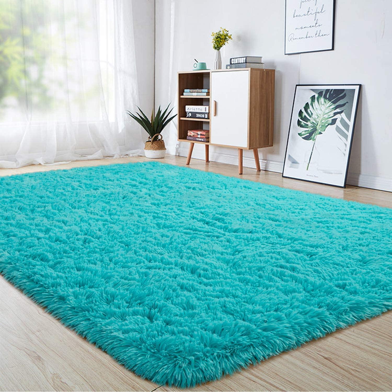 junovo Ultra Soft Area Rugs 6 x 9ft Fluffy Carpets for Bedroom Kids Girls Boys Baby Living Room Shaggy Floor Nursery Rug Home Decor Mats, Turquoise Blue