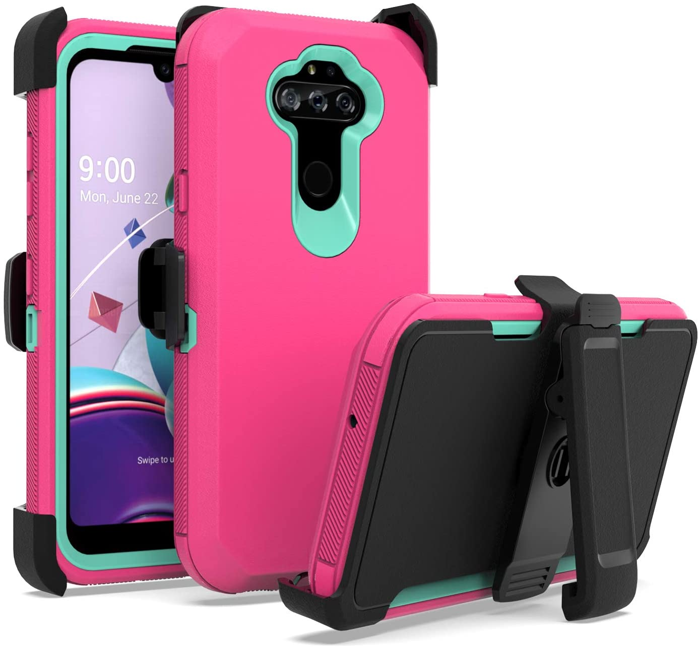 EnCASEs Belt Clip Holster Cell Phone Case for LG Phoenix 5 / Aristo 5 / K31 / Fortune 3 / Tribute Monarch / K8x / Risio 4, Heavy Duty Protection Case with Kickstand, Hot Pink/Teal