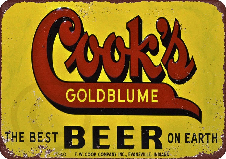 MAIYUAN Metal Tin Signs-New Tin Sign Cook's Goldblume Beer Vintage Look Aluminum Metal Sign 8x12 Inches (H9-D063)
