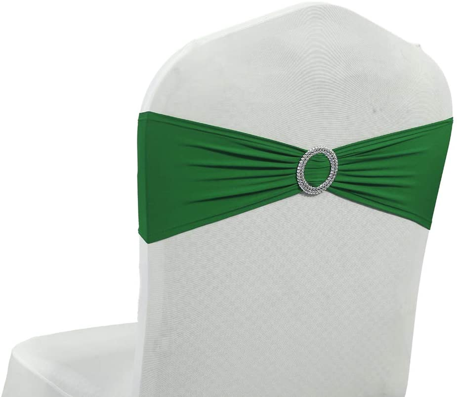 mds Pack of 10 Spandex Chair Sashes Bow sash Elastic Chair Bands Ties with Buckle for Wedding and Events Decoration Lycra Slider Sashes Bow - Green