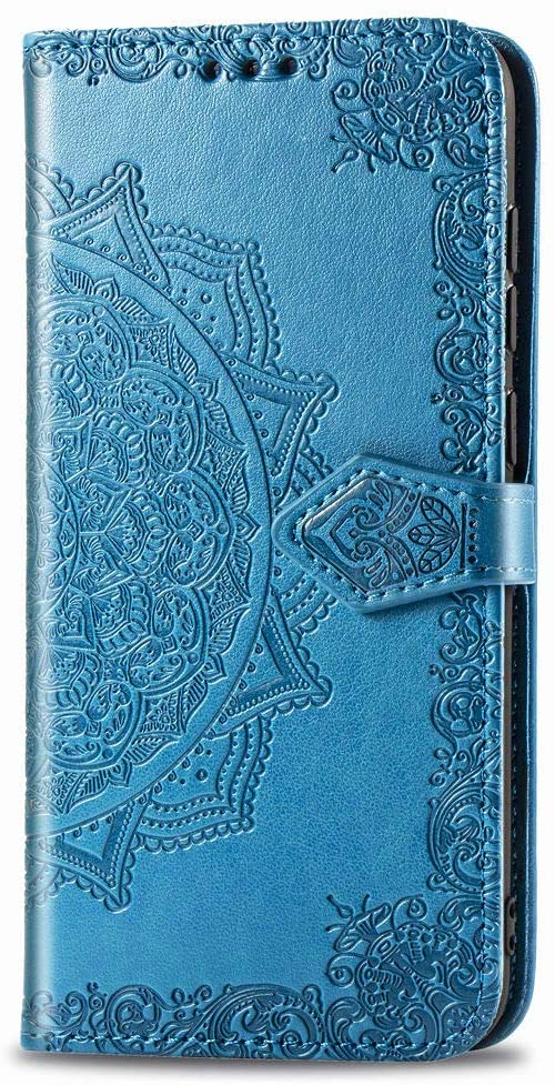 iPhone 11 Pro Wallet Case Blue Mandala, iPhone 11 Pro Flip Case with Card Holder, Patterned Faux Leather Phone Cover with Magnet Kickstand & Wrist Strap for iPhone 11 Pro Case Women