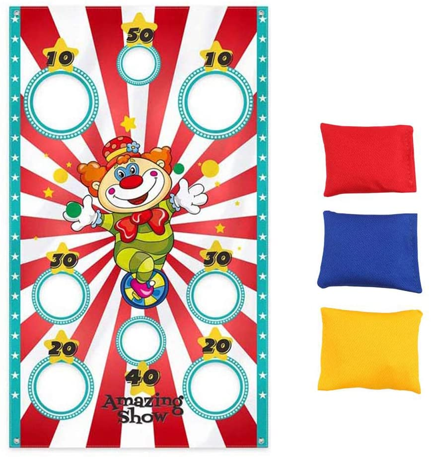 Enfudid Kids Toss Game Banner Bean Bag Indoor Outdoor Throwing Game Party Supplies for Adult for Halloween Birthday Party Thanksgiving Day Christmas Halloween Toy Funny Prop Decorations 3 Bean Bags