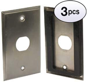 GOWOS (3 Pack) 1-Port Single Gang Stainless Steel Wallplate with Water Seal