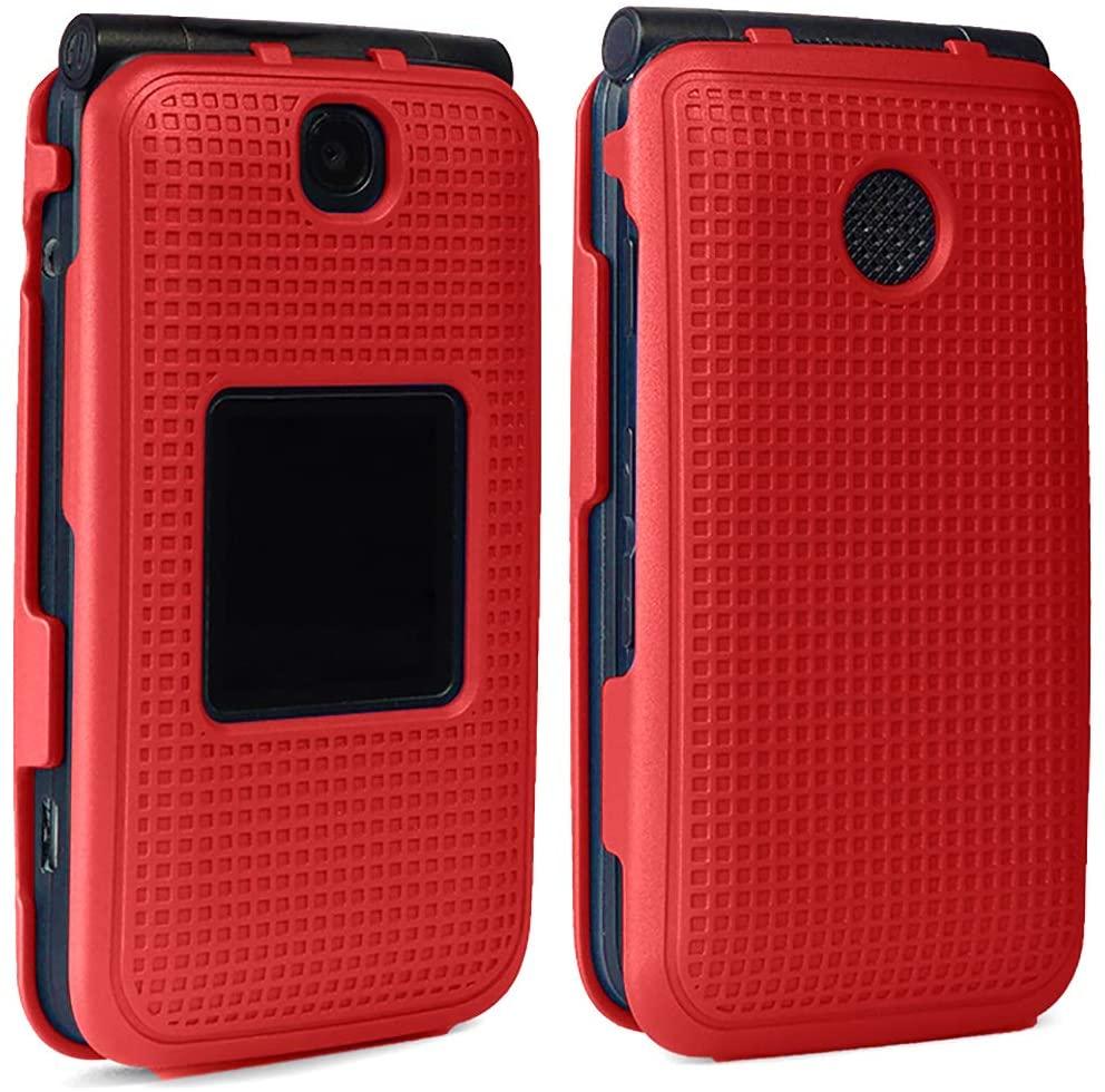 Alcatel Go Flip V Case, Nakedcellphone [Red] Protective Snap-On Cover [Grid Texture] for Alcatel Go Flip, MyFlip 4G, QuickFlip, AT&T Cingular Flip 2, (A405DL, 4051s, 4044, A405)
