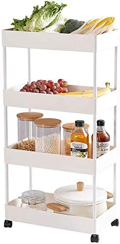 BEEY 4-Tier Rolling Cart Storage Utility Cart Slide Out Storage Organizer Rack Mobile Shelving Unit for Narrow Places Kitchen Bathroom Living Room (White)