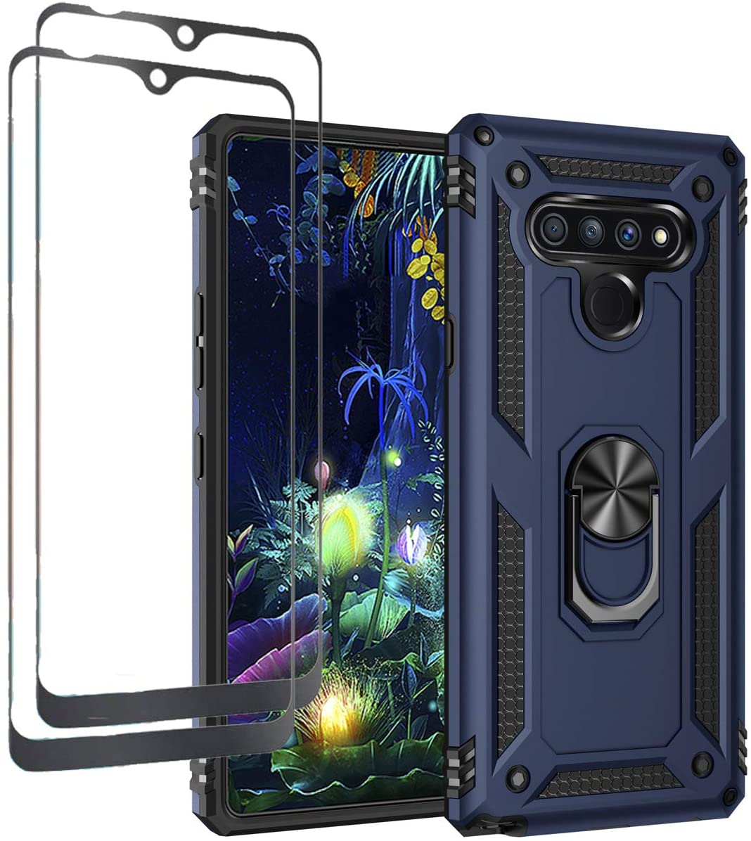 Tznzxm LG Stylo 6 Case, LG Stylo 6 Tempered Glass[2 Pcs],[ Military Grade ][Impact Resistant][Defender][Metal Ring Grip ][Magnetic Car Mount] Armor Kickstand Protective Case Screen Protector Blue