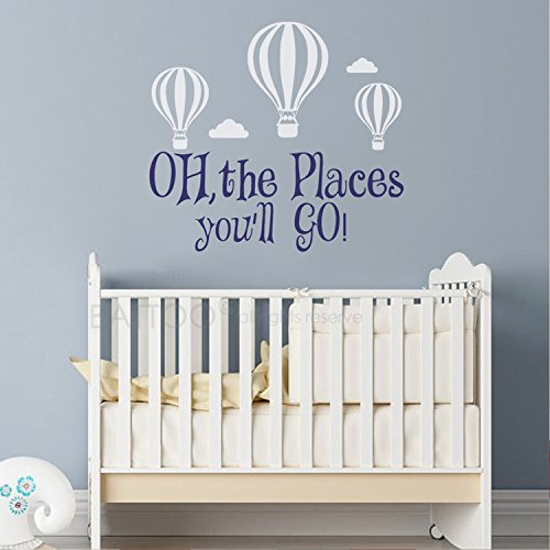 BATTOO Oh The Places You'll Go Wall Decal Nursery - Hot Air Balloons Wall Decal Nursery Decor - Wall Decal Kids Nursery Quotes - Wall Decal Boys or Girls(Custom, 50