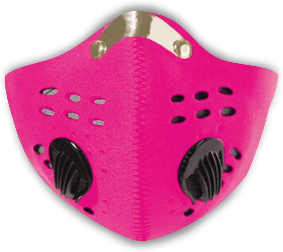 Neoprene Face Mask Reusable & Adjustable Adult Health Protection Dual Breathing Valve | Breathable Cover Dustproof, Workout, Travel, Outdoo, Pink (Single)