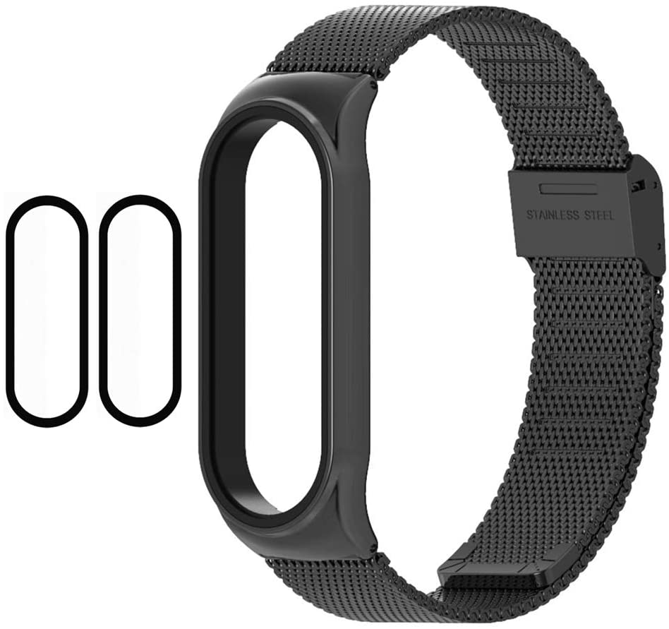 1 Mi Band 5 Strap Metal + 2 Mi Band 5 Screen Protector, 16mm AdjustableMi Band 5 Bracelet Replacement Band Strap for Xiaomi Mi Band 5 Global Version Smart Watch (Black)