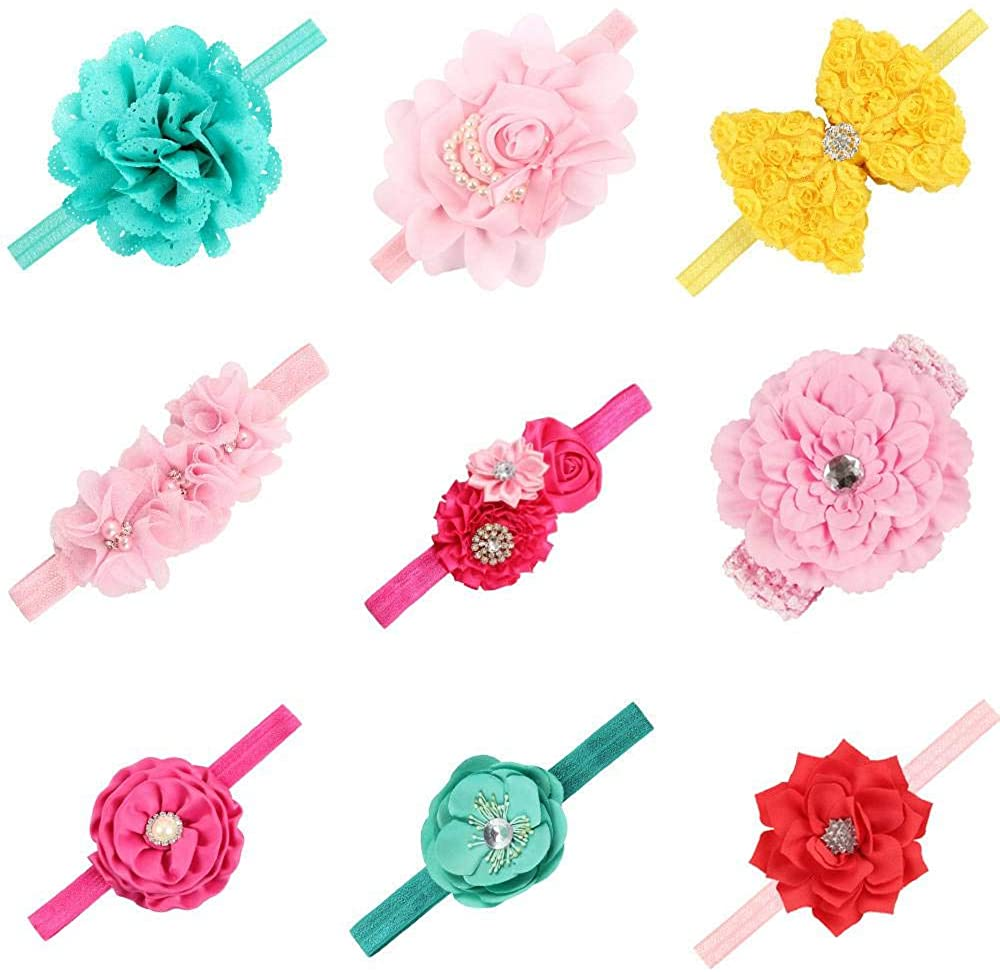 DQCUTE Baby Girl Headbands and Bows Newborn Infant Toddler Elastic Flowers Hairbands Child Hair Accessories
