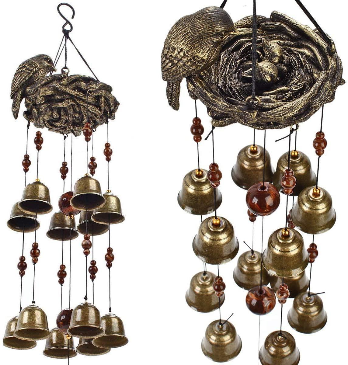 MEIHONG Outdoor Wind Chimes, Bird Nest Bronze Wind Chimes Unique Outdoor, Birds and Nest Windchime 12pieces Wind Bells, Bird Garden Decor, Hanging Wind Chime Bell, Best Musical Wind Chime