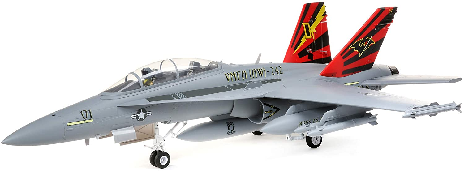 E-flite RC Airplane F-18 Hornet 80mm EDF BNF Basic (Transmitter, Battery and Charger not Included) with AS3X and Safe Select, 980mm, EFL3950