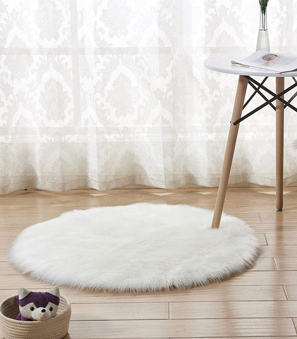 Faux Fur Rug, HARESLE Soft Shaggy Rugs Round Carpet Floor Mat for Bedroom Living Room Kids Room, White/Dia 20 inches