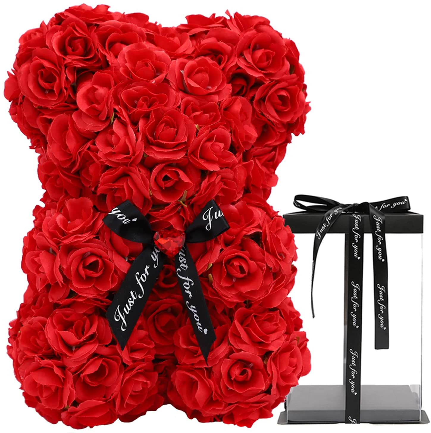POETIC WREATH Rose Bear Teddy Bear Flower New Silk Rose Bear Rose Teddy Bear 10 inch Suitable for Valentines Day, Anniversary, Mothers Day, Birthday Gifts,Thanksgiving Gift(red)